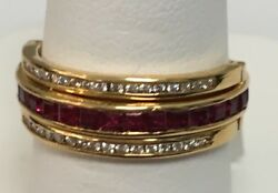 14k Yellow Gold Diamond,ruby,sapphire English Antique Style Movable Band Size 6