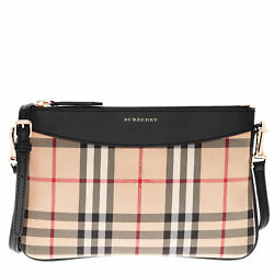Burberry Women's Horseferry Check Peyton Embossed logo Trim Leather Clutch Bag