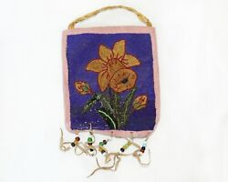 Vintage Native American Beaded Yellow Floral Bag