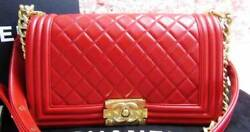 Chanel As New Auth Red Quilted Lamb Old Medium Le Boy Bag with Gold HDW - RARE!