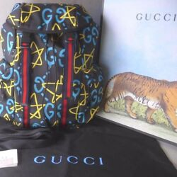 GUCCI GHOST Michele Backpack Bag Rucksack Canvas Leather Purse Black Auth rare