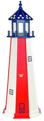 Amish Made Poly Garden Lighthouse - Patriotic Vertical Stripe - Lighting Options