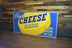 Huge Early Wisconsin Cheese 1950and039s Advertising Tin Sign Dairy General Store Wow