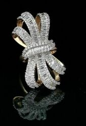 10k Yellow Gold Finish Lab Created Diamond Silver Cocktail Bow Ring Size 7.5