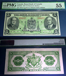 Pmg 55 About Uncirculated 1943 Royal Bank Of Canada 5 Scarce In Higher Grade