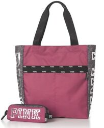 VICTORIA'S SECRET PINK LOGO WEEKENDER BAG TOTE AND MAKE UP BAG LIMITED EDITION
