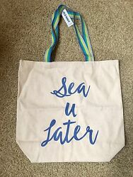 Old Navy summerbeach cotton tote bag Natural Blue Striped Handles