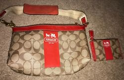 Tan and Red Coach Purse with Matching Wallet $70.00