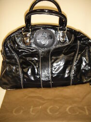 Authentic GUCCI Snow Glam Bowler Satchel Black Quilted Patent Leather Handbag