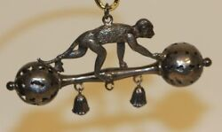 Rare Antique Crisford And Norris Candn Silver Baby Rattle Crawling Monkey On Barbell