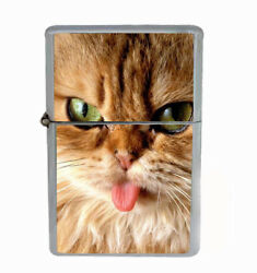 Cat Tongue Rs1 Flip Top Oil Lighter Wind Resistant With Case