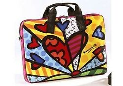 Romero Britto Lg. Laptop Bag With Hearts 16 X 12 Inches