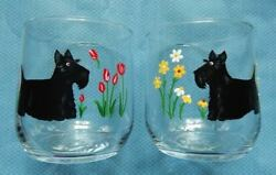 Pair of Scottish Terrier Hand Painted on the Rocks Glasses