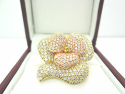 Modern 18k Solid Yellow/rose Gold Fancy Pave Flower Cocktail Ring