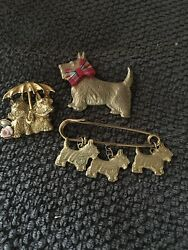 Vintage SCOTTIE DOG Costume Jewelry Pins Gold Tone 3 Different Pins