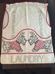 Vintage Laundry Bag Scottie Terrier Dogs Hand Embroidered and Sewn