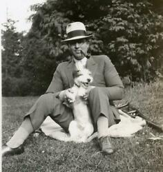 R857 Vtg Photo MAN FEDORA PIPE WITH TERRIER DOG c 1930's