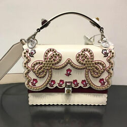 USED FENDI canai white leather bag free shipping Japan Very popular Famous woman