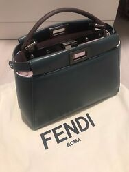 99% New Fendi Peekaboo Mini Bag (Used twice; Olive and Pink; Lambskin Leather) $2,699.00