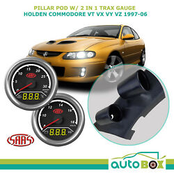 97-06 Vt Vx Vy Vz Commodore Pillar Pod W/ 2in1 Boost Ext Temp And Dual Volts Gauge