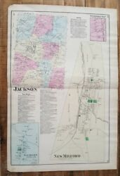 Antique Colored Map-new Milford And Jackson Pennsylvania - A. Pomeroy And Co. 1872
