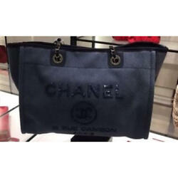 USED CHANEL Deauville Tote unused sequins design free shipping Japan