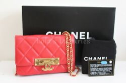 AUTHENTIC CHANEL CLASSIC GOLDEN CLASS WALLET ON CHAIN WOC GOLD BAG CROSSBODY red