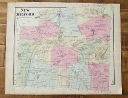 Antique Colored Map Of New Milford - Pennsylvania / A. Pomeroy And Co. 1872