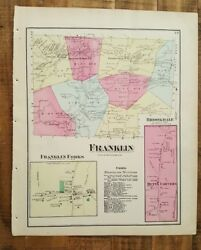 Antique Colored Map Of Franklin - Pennsylvania / A. Pomeroy And Co. 1872