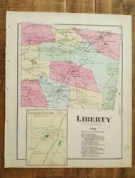 Antique Colored Map Of Liberty - Pennsylvania / A. Pomeroy And Co. 1872