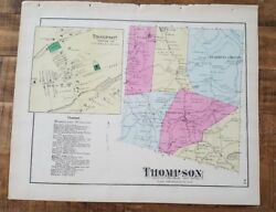 Antique Colored Map Of Thompson, Pennsylvania / A. Pomeroy And Co. 1872