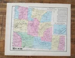 Antique Colored Map Of Rush And Rushville Po, Pennsylvania / A. Pomeroy And Co. 1872