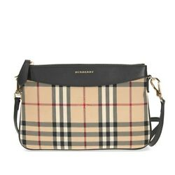 Burberry Women's Horseferry Check Peyton Clutch Bag Beige + Black