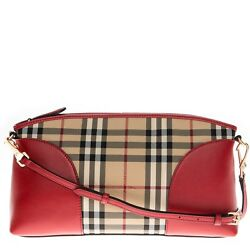 Burberry Women's Horseferry Check and Leather Clutch Honey Parade Red