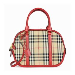 Burberry Women's The Small Orchard in Hoseferry Check Red 39 x 12 x 25 cm