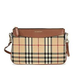 Burberry Women's Horseferry Check Peyton Clutch Bag Beige and Brown
