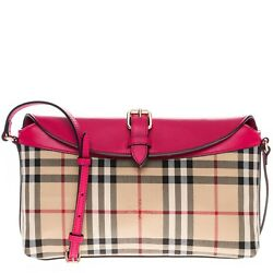 Burberry Women's Horseferry Check Small Leah Clutch Bag Beige Pink