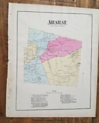 Antique Colored Map Ararat, Pennsylvania / A. Pomeroy And Co. 1872