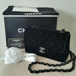USED Chanel chain shoulder bag free shipping Japan Velor black Very popular
