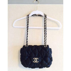 USED CHANEL Chanel Bubble Quilted Silver Shoulder Chain Bag free shipping Japan