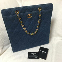 USED Chanel Denim Chain Bag free shipping Japan Very popular Famous ladies woman