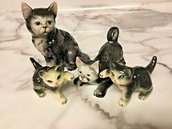 Family of Vintage Japan Black and White Cat Figurines