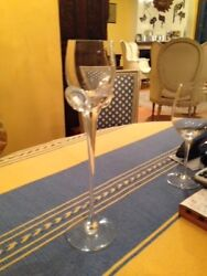 Handblown Set Of 10 Crystal Wine Glasses-original From France And Signed