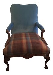 Refurbished Stately Gentlemanand039s Club Chair In Peacock Blue Velvet W/ Plaid Seat