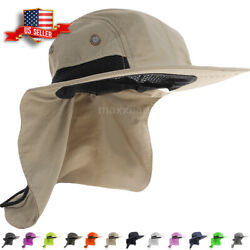 Boonie Snap Hat for Men Wide Brim Ear Neck Cover Sun Flap Bucket Hats Outdoors $8.95