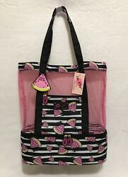 BETSEY JOHNSON Insulated WATERMELON Mesh COOLER Tote Lunch Pool Beach TRAVEL Bag