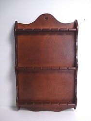 Vtg Wall Hanging Wooden 18 Spoon Wall Rack Collector Souvenir Display Holder