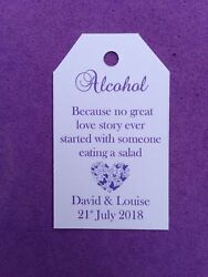 100 X Personalised Wedding Thank You Alcohol Gift Tags Favour Wedding Drink Me