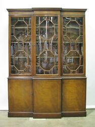 Vintage 1950and039s Baker Furniture Mahogany Breadfront Bubble Glass W/inlay