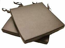 2 Brown Faux Leather Square Dining Garden Chair Cushions Seat Pad 14 To 20